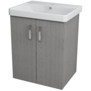 SAPHO - THEIA umývadlová skrinka 56,4x70x43,5cm, 2x dvierka, dub strieborný (TH063)