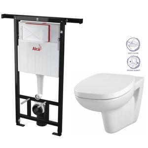 ALCAPLAST Jádromodul - předstěnový instalační systém bez tlačítka + WC CERSANIT FACILE + SEDÁTKO DURAPLAST SOFT-CLOSE (AM102/1120 X FA2)