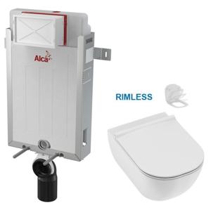 /SET/ALCAPLAST - SET Renovmodul - předstěnový instalační systém bez tlačítka + JIKA Mio WC, Rimless + Mio WC sedátko Slowclose SLIM (AM115/1000 X IO2)