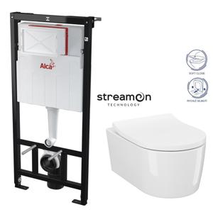 /SET/ALCAPLAST - SET Sádromodul - předstěnový instalační systém bez tlačítka + WC INVERTO se systémem STREAM ON + SEDATKO SLIM SOFT CLOSE (AM101/1120 X IN1)