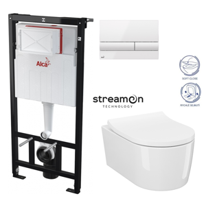 /SET/ALCAPLAST - SET Sádromodul - předstěnový instalační systém s bílým tlačítkem M1710 + WC INVERTO se systémem STREAM ON + SEDATKO SLIM SOFT CLOSE (AM101/1120 M1710 IN1)