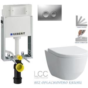 /SET/GEBERIT - SET KOMBIFIXBasic včetně ovládacího tlačítka DELTA 21 MAT pro závěsné WC LAUFEN PRO LCC RIMLESS + SEDÁTKO (110.100.00.1 21MA LP2)