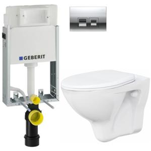 /SET/GEBERIT - SET KOMBIFIXBasic vrátane ovládacieho tlačidla DELTA 50 CR pre závesné WC CERSANIT ARES + SEDADLO (110.100.00.1 50CR AR1)