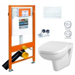 JOMO DUO modul pro závěsné WC s bílou deskou + WC CERSANIT FACILE + SEDÁTKO DURAPLAST SOFT-CLOSE (174-91100900-00 FA2)