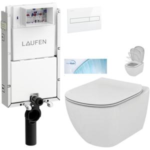 /SET/LAUFEN - Podomít. systém LIS TW1 SET BÍLÁ + ovládací tlačítko BÍLÉ + WC TESI se sedátkem SoftClose, AquaBlade (H8946630000001BI TE1)