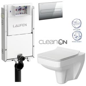 /SET/LAUFEN - Podomít. systém LIS TW1 SET + ovládací tlačítko CHROM + WC CERSANIT SPLENDOUR CLEANON + SEDÁTKO (H8946630000001CR SP1)