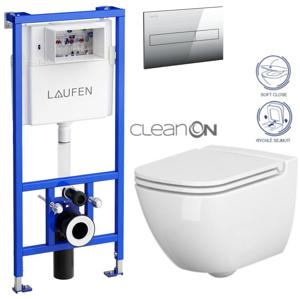 /SET/LAUFEN - Rámový podomítkový modul CW1 SET + ovládací tlačítko CHROM + WC CERSANIT CASPIA CLEANON + SEDÁTKO (H8946600000001CR CP1)