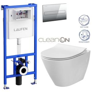 /SET/LAUFEN - Rámový podomítkový modul CW1 SET + ovládací tlačítko CHROM + WC CERSANIT CITY CLEANON + SEDÁTKO (H8946600000001CR CI1)