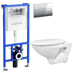 /SET/LAUFEN - Rámový podomítkový modul CW1 SET + ovládací tlačítko CHROM + WC CERSANIT MITO + SEDÁTKO (H8946600000001CR MI1)
