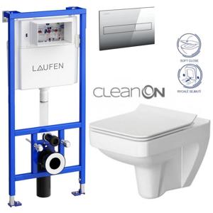 /SET/LAUFEN - Rámový podomietkový modul CW1 SET + ovládacie tlačidlo CHRÓM + WC CERSANIT SPLENDOUR CLEANON + SEDADLO (H8946600000001CR SP1)