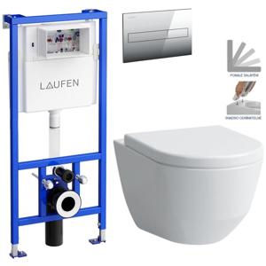 /SET/LAUFEN - Rámový podomítkový modul CW1 SET + ovládací tlačítko CHROM + WC LAUFEN PRO + SEDÁTKO (H8946600000001CR LP3)