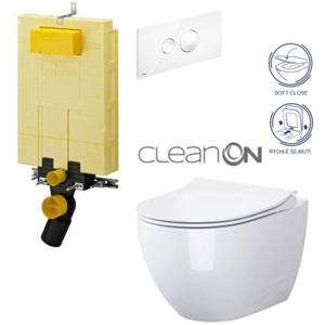 /SET/VIEGA - MONO modul WC čelné ovládanie + ovládacie tlačidlo BIELE + WC CERSANIT URBAN HARMON YCLEAN ON + SEDADLO (V606732BI HA1)
