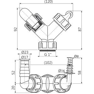 """Sifonový přípoj, dvojité kolínko G1""""/8–16, 17–23 se zpětnými klapkami ALCAPLAST plast P149Z (P149Z)"""