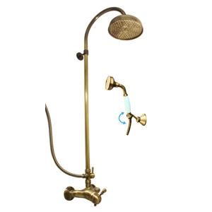 SLEZAK-RAV - Vodovodní baterie sprchová LABE - STARÁ MOSAZ s hlavovou a ruční sprchou, Barva: stará mosaz, Rozměr: 150 mm (L081.5/3SM)