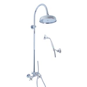 SLEZAK-RAV - Vodovodní baterie sprchová MORAVA RETRO s hlavovou a ruční sprchou, Barva: chrom, Rozměr: 150 mm (MK381.5/3)