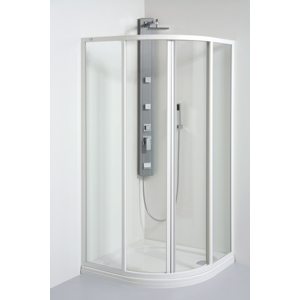 TEIKO sprchový kout čtvrtkruhový SKKH 2/90 R55 SKLO WATER OFF BÍLÝ 90x90x185 (V331090N55T22551)