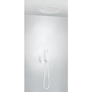 TRES - Podomietková sprchová jednopáková set s uzáverom a reguláciou prietoku. · Vrátane podomietkového telesa · Sprchové kropítko z nerez. ocele O 380 mm. · Kolienko nástenným prívodom. · Ručná sprcha, proti usa. vôd. kameňa. · Flexi hadice. (21198099BM)