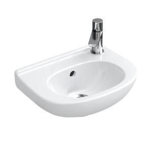 VILLEROY & BOCH - O.novo Jednootvorové umývadielko Compact s prepadom, 360 mm x 275 mm – s CeramicPlus, alpská biela (536039R1)