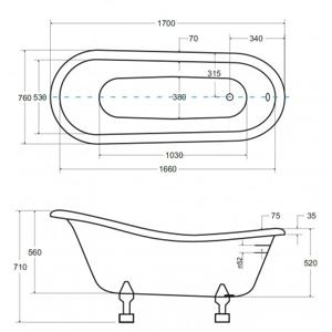 Volně stojící vana MERANO - Bílá, 1700 x 770 mm, objem 190 l, Dřevo (VANMER170D)