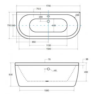 Volně stojící vana TURSI - Bílá, 1700 × 750 mm, objem 195 l (VANTUR170)